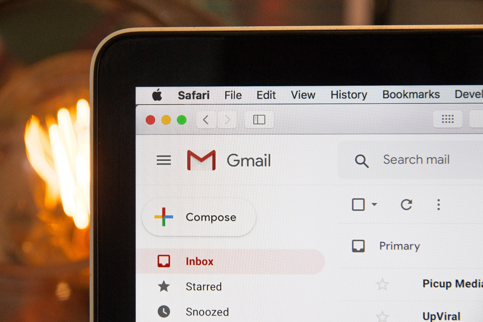 macbook with gmail open in browser
