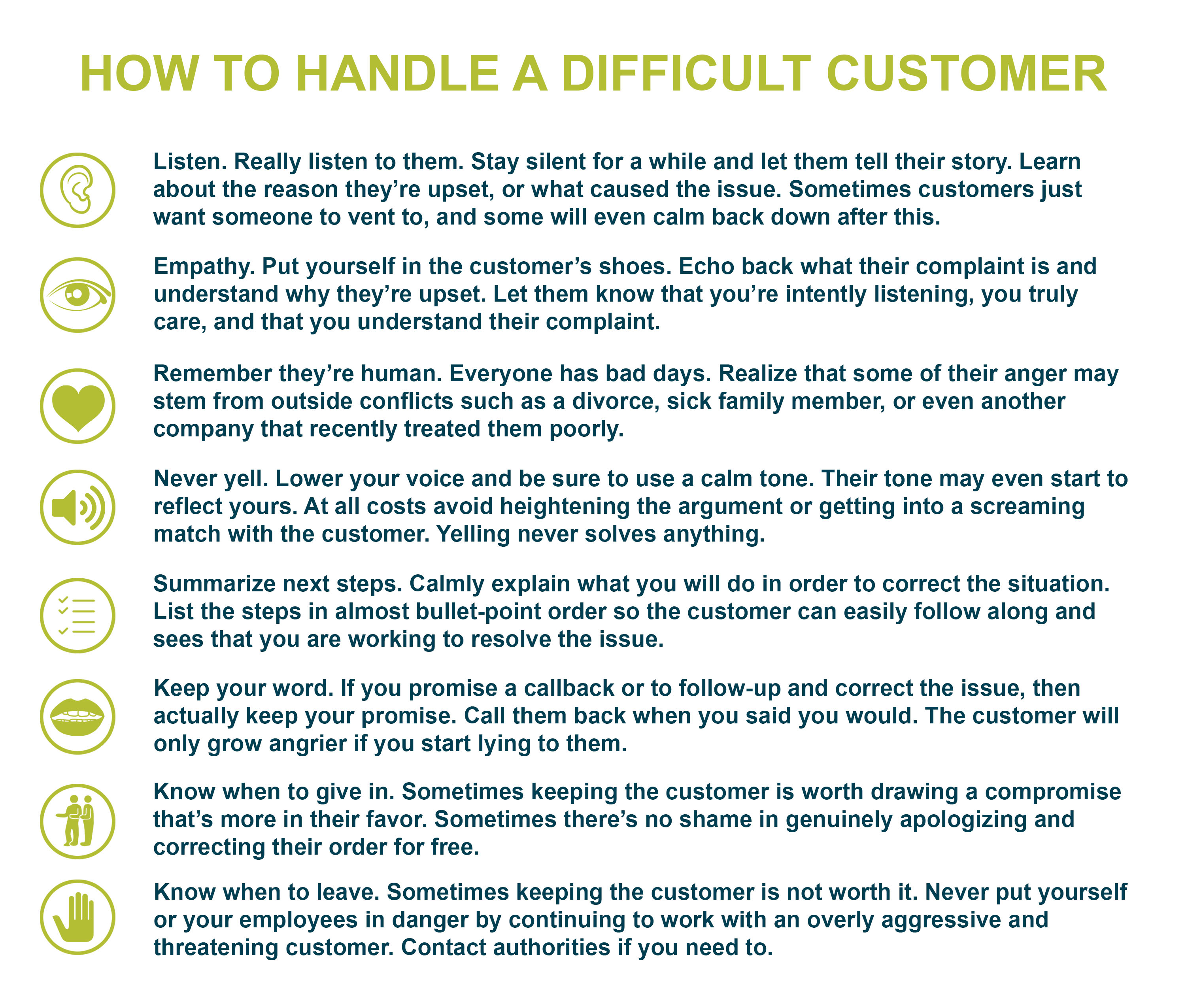 graphic describing how to handle a difficult customer