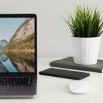 macbook with plant next to it