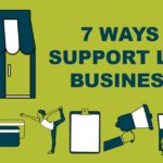 graphic with 7 icons to represent 7 different ways you can support local businesses