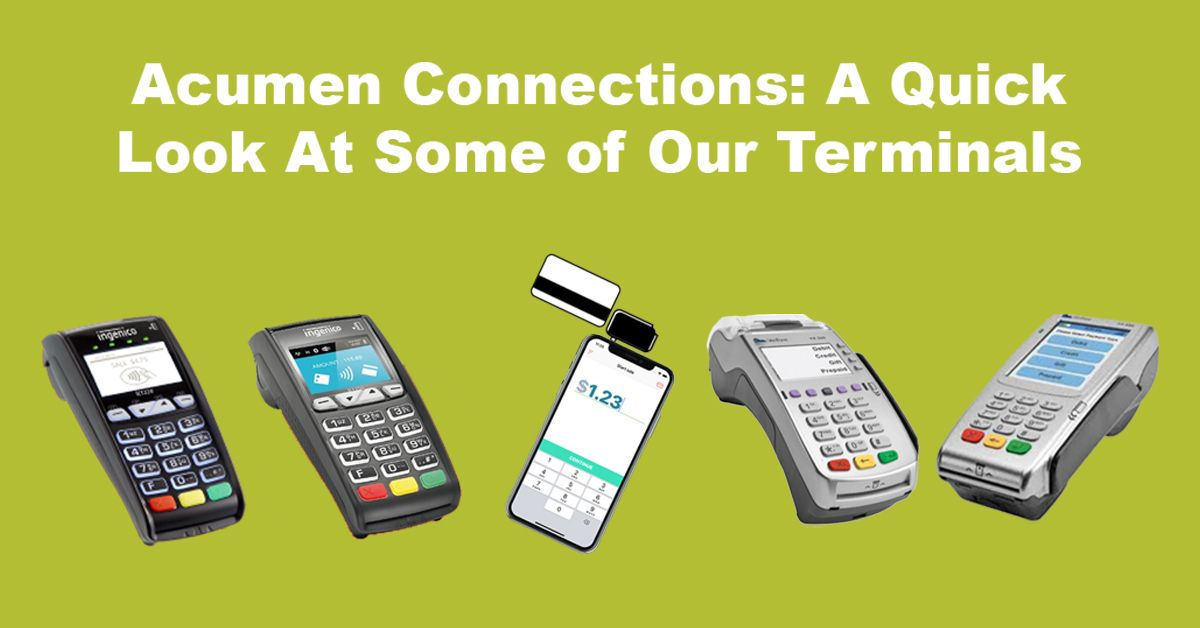 Five pictures of different credit card terminals