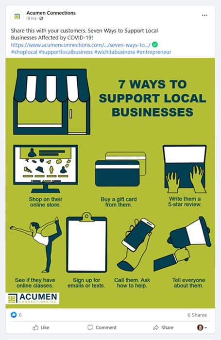 7 ways to support local businesses facebook post