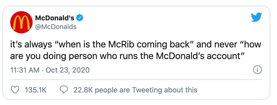 a tweet from Mcdonalds