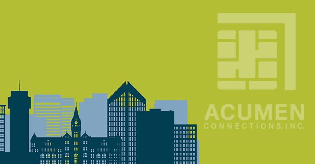 Wichita skyline and payment processor Acumen Connection logo in background