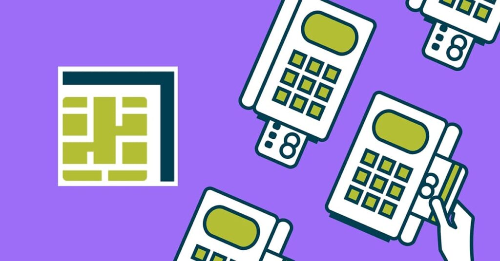 Illustrations of credit card processing machines on a purple background