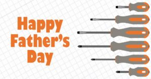 """""""Happy Father's Day"""" post idea with orange text and orange screwdrivers on top of graph paper."""