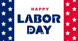 """""""Happy Labor Day"""" post idea. The inside of the letters are built with white cutouts of tools. On either side of the text is a banner of white stars on top of a blue and red background."""