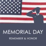 """""""Memorial Day"""" post idea. Image of man saluting in front of American flag."""