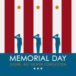"""""""Memorial Day"""" social media post idea with three men saluting on top of a red and white background"""
