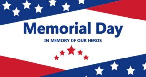 """""""Memorial Day"""" social media post idea with red, blue, and white star imagery."""