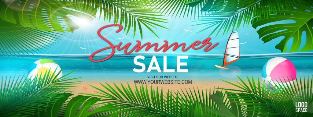 """4th of July ad template with summer imagery. Picture of a beach with plants. Text says """"Summer sale. Visit our site."""" There's a place to add a website link and a logo."""