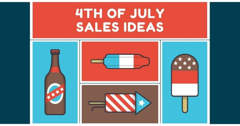"""Red white and blue imagery. A collage of cartoon beer, popsicles, and fireworks. Text says """"4th of july sales ideas"""""""