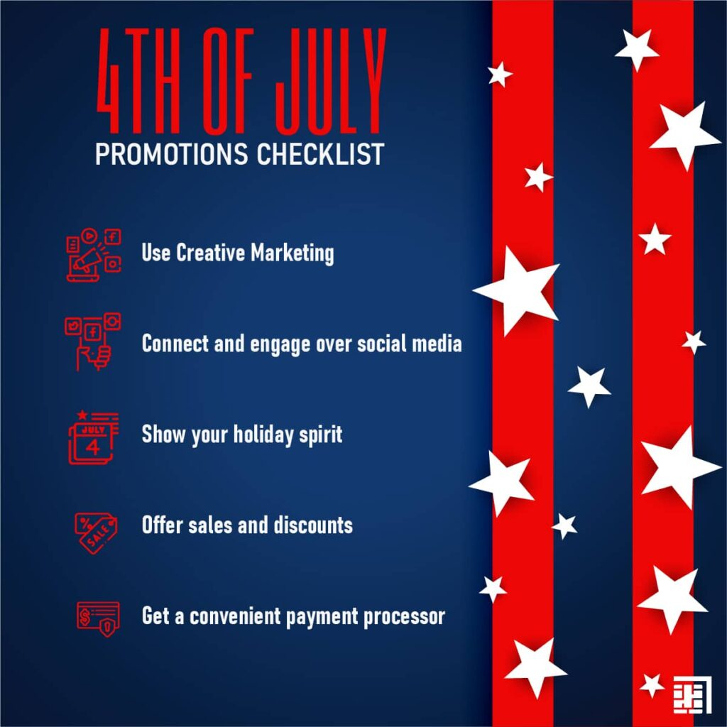 """Red stripes and white stars on a blue background. Text says """"4th of July promotions checklist"""" and lists out the 5 items below."""