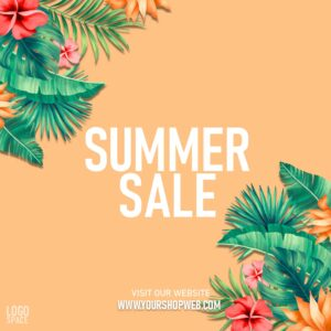 """Instagram-sized 4th of July ad template. Orange background with plant graphics in corners. Text says """"Summer sale. Visit our website."""" There's a place to add a link and a logo."""