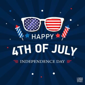 """Instagram sized 4th of july social media template. Blue background with red white and blue sunglasses and fireworks imagery. Text says """"Happy 4th of July. Independence Day."""""""