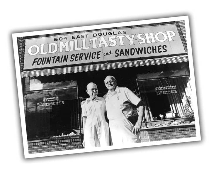 Black and white photograph of the original owners of Old Mill Tasty Shop