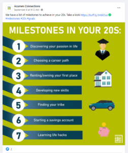 """Screenshot of Facebook post with """"Milestones in your 20s"""" picture listed earlier"""