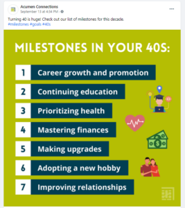 """Screenshot with facebook post of """"milestones in your 40s"""" graphic"""