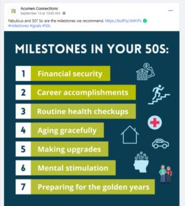 """Screenshot of Facebook post of """"milestones in your 50s"""" graphic"""