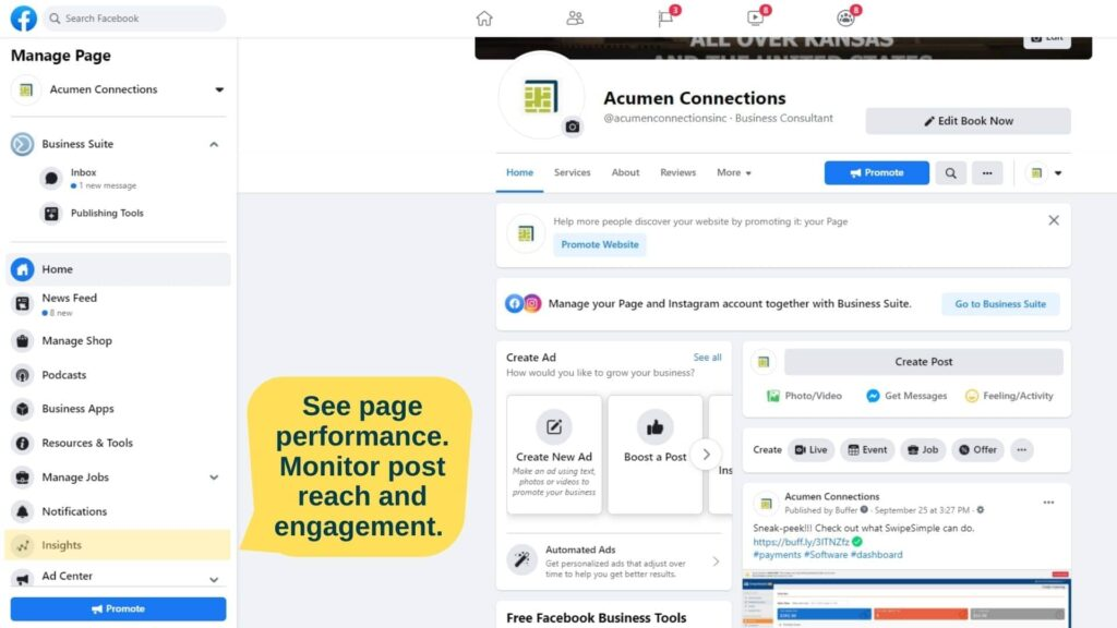 Screenshot of Facebook page with highlight on where to find the insights link.