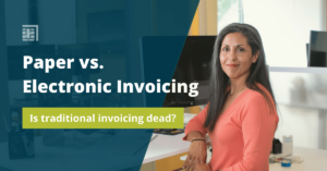 """Woman sitting chair in front of desk computer looking at camera. Blue overhue with white text that says """"paper vs electronic invoicing. A green block has white text that says """"is traditional invoicing dead?"""""""