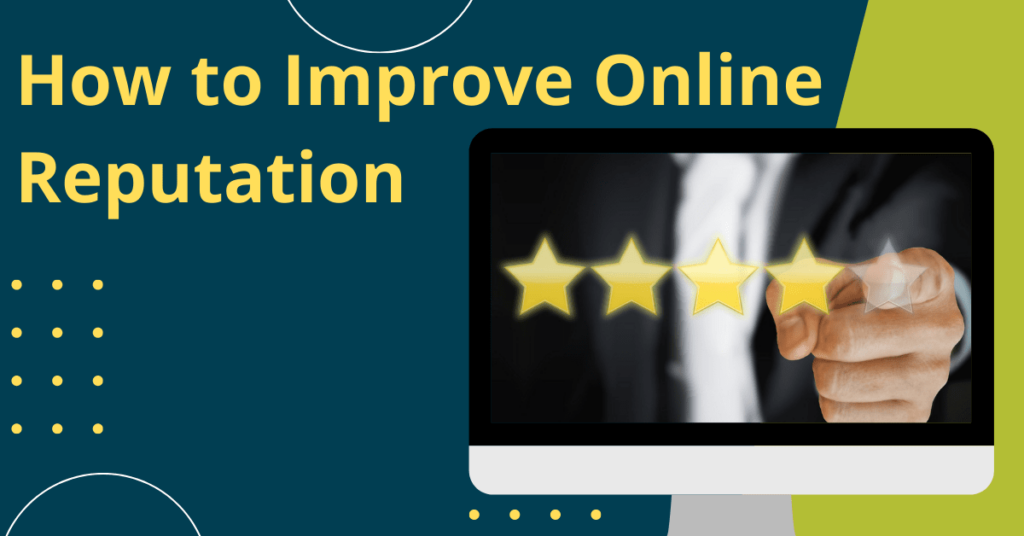 Person selecting 5 stars on computer. Yellow text on blue and green background says