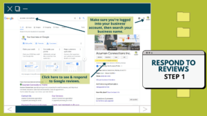 Screenshot of Google search. On the right side of the screen Google business account displays. An arrow points at the review link.