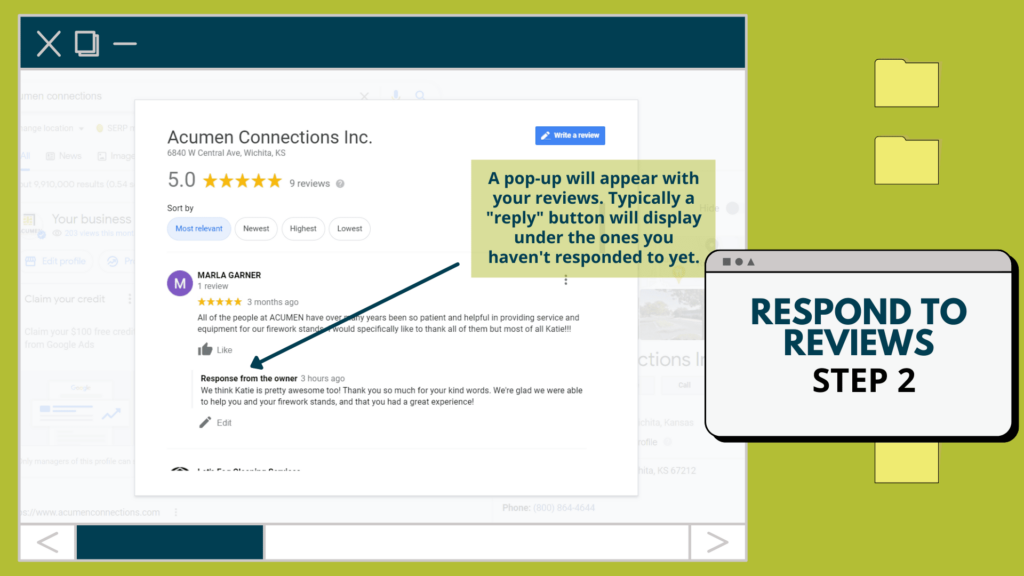 Screenshot of Google Reviews pop-up. Arrow points to the reply button.