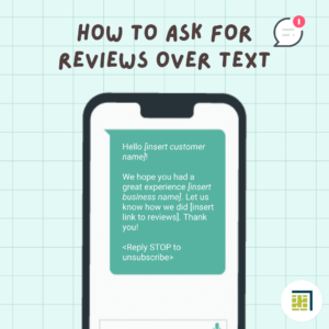 Image of cell phone and sms text on green background. Gray text says